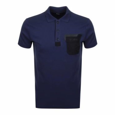 Diesel T-Temp Jersey Polo T-Shirt With Pocket Navy Blue