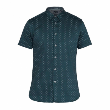 Ted Baker Franko SS Printed Textured Shirt Navy