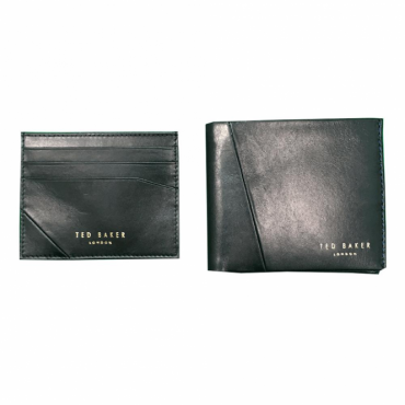 Ted Baker Twixxle Black Leather Wallet & Card Holder Gift Set