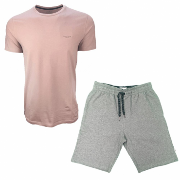 Ted Baker Pleco Jersey Lounge Pink T-Shirt & Grey Shorts Set
