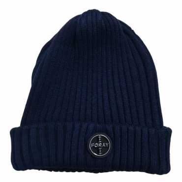 Foray Navy Woolmix Beanie Hat With Turn-up