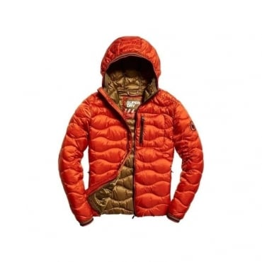 Superdry Wave Quilt Hooded Jacket Orange 03M