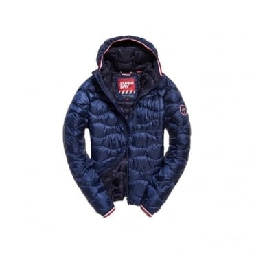 Superdry Wave Quilt Hooded Jacket Navy 11S