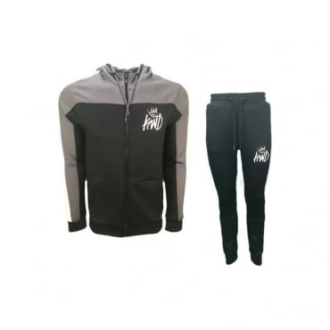 KWD Mert Black Zip Up Hoody Poly Tracksuit