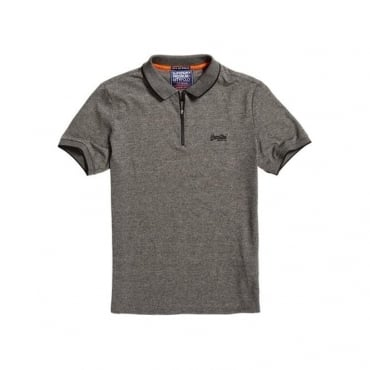 Superdry City Sport Zip Polo Grey Grit NKM