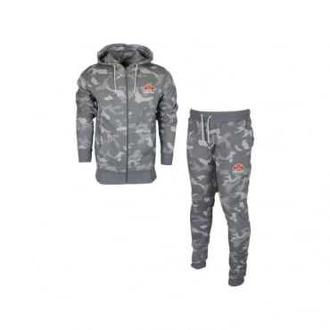Ellesse Miletto Ovest Grey Camo Zip Up Tracksuit
