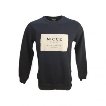 NICCE Rubber Box Logo Crew Neck Sweatshirt Navy M02SWT02