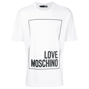 Love Moschino White Box Logo T-Shirt M473269M3876
