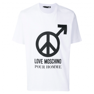 Love Moschino White Logo T-Shirt M47321NM3876