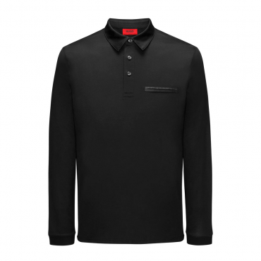HUGO Boss Dwoon Black Mercerised Long Sleeved Polo 50384974
