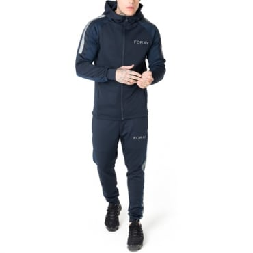 Foray Page Navy Blue Reflective Zip Up Hoody Tracksuit