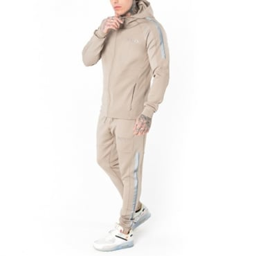 Foray Page Beige Reflective Zip Up Hoody Tracksuit