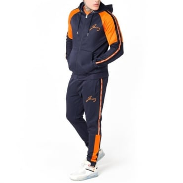 Foray Flux Blue & Orange Zip Up Hoody Tracksuit