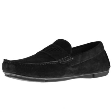 Emporio Armani Black Suede Slip On Loafer Shoes X4B113 XF188