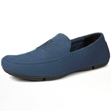 Emporio Armani Dark Blue Suede Slip On Loafer Shoes X4B113 XF188
