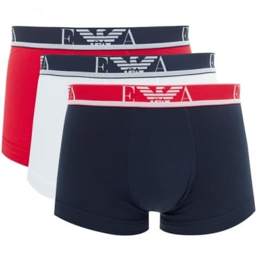 Emporio Armani Three Pack Boxer Shorts White, Navy, Red 111473 8P715