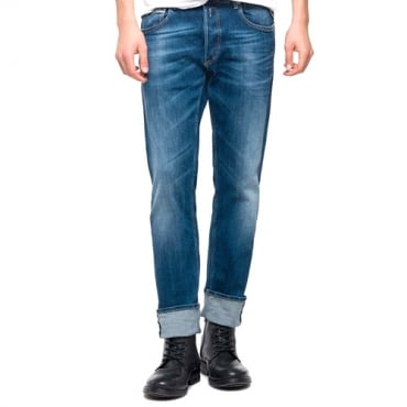 Replay Grover Straight Fit Blue Washed Denim Jeans MA972 573 240 009