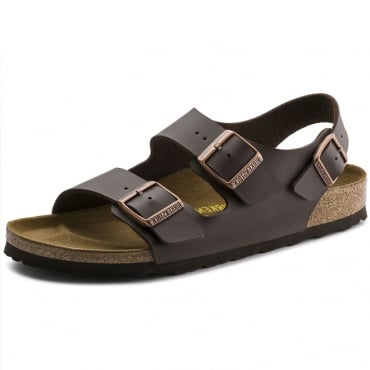 Birkenstock Milano Birko-Flor Dark Brown Ankle Strap Sandals 0034703