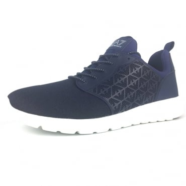 EA7 Dark Blue Knit Mix Running Trainers 248052 8P299