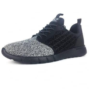 EA7 Black Grey Knit Mix Running Trainers 248052 8P299