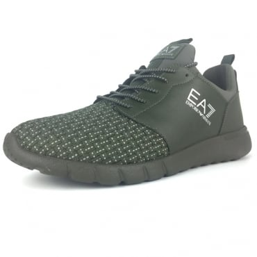 EA7 Khaki Green Weave Mix Running Trainers 248054 8P299
