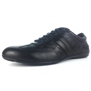 Emporio Armani Black Leather Trainers X4C475 XL195
