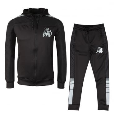 KWD Kommack Black Zip Up Hoody Tracksuit With Relective Tape Trim