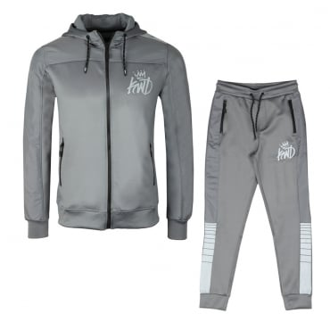 KWD Kommack Grey Zip Up Hoody Tracksuit With Relective Tape Trim