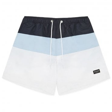Nicce Division Tri-Colour Swim Shorts White/Navy