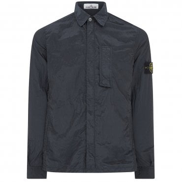 Stone Island Full Zip-Up Metal Overshirt Jacket Blue Grey V0063 10844