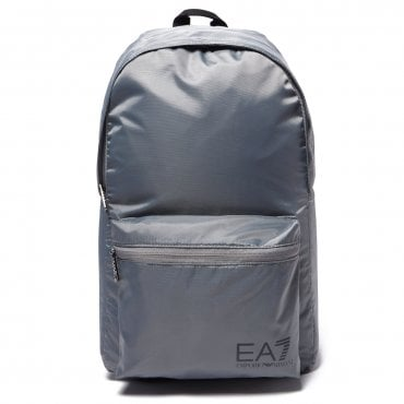EA7 Emporio Armani Silver Grey Nylon Backpack 275659
