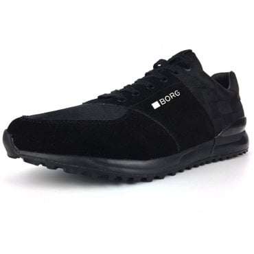 Bjorn Borg R200 Black Suede And Check Trainers