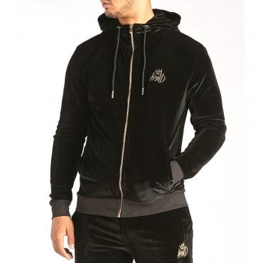 KWD Alvarado Velour Black Zip Up Hoody Tracksuit