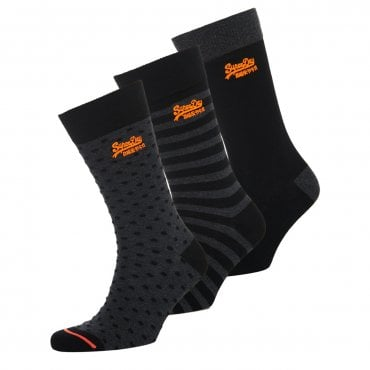 Superdry City Sock 3 Pack Black Mix TY9