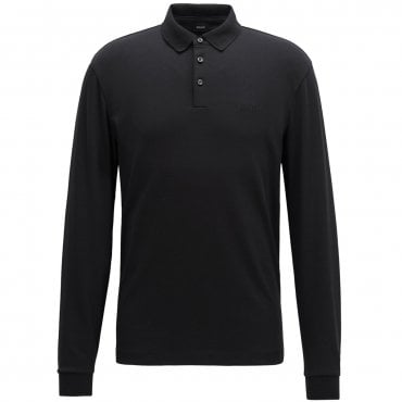 09b47f75b Hugo Boss Pado 11 Plain Long Sleeved Jersey Polo Black 50391826