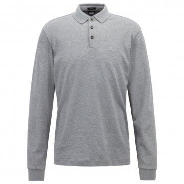 7bc744e62 Hugo Boss Pado 10 Plain Long Sleeved Pique Polo Grey 041 50391549