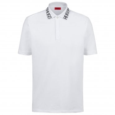 04092394 Hugo Boss Dewayne Logo Collar White Stretch Polo 50402031