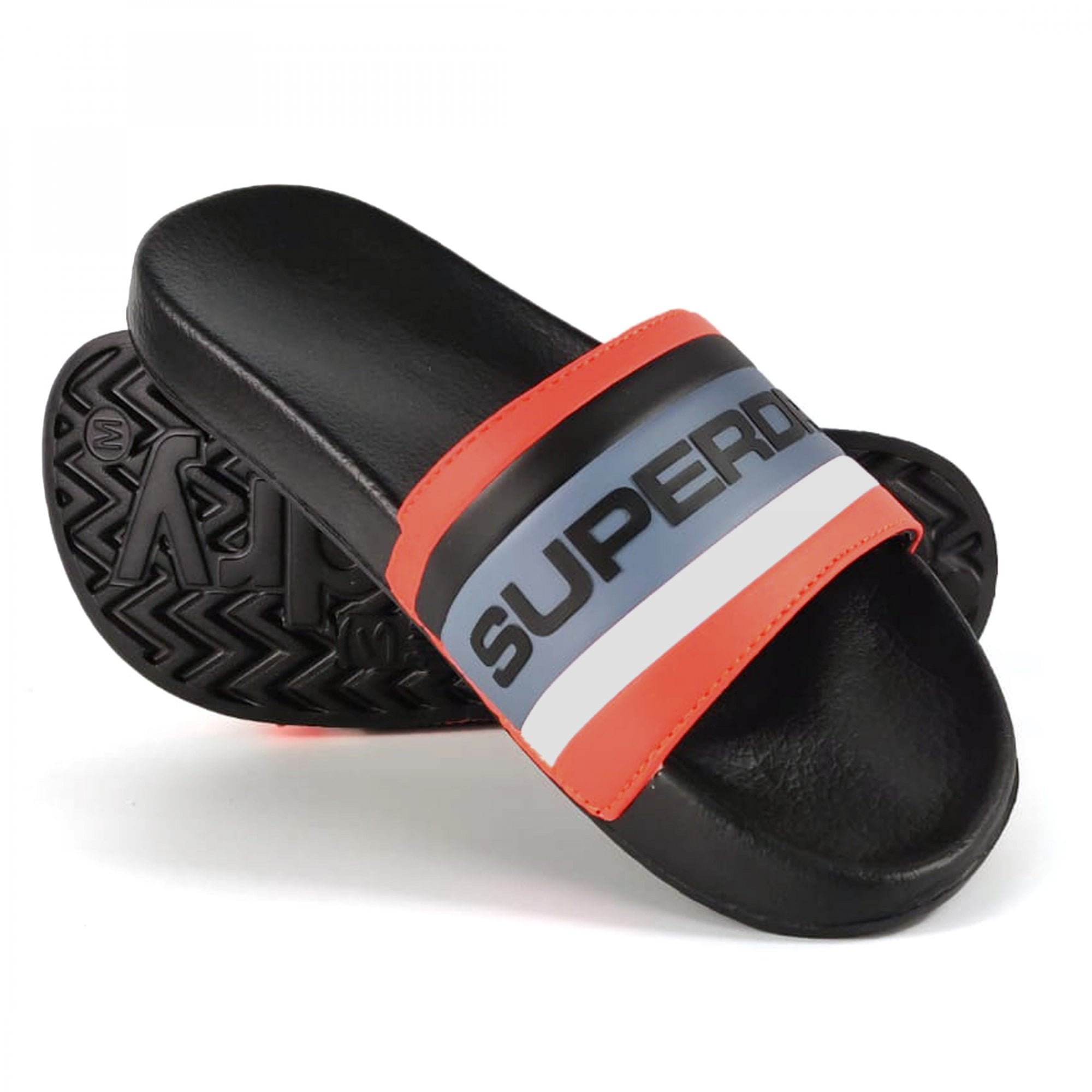 Superdry Retro Colour Block Sliders Khaki Black//Hazard Orange V4B